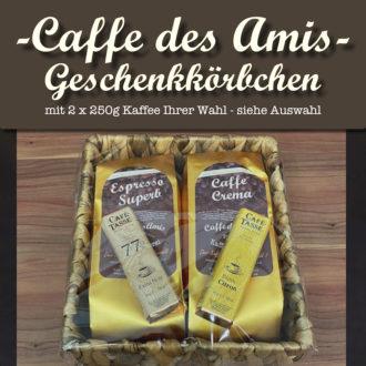 Produktbild Geschenkkörbchen mit zwei Kafeesorten und zwei belgischen Schokoladen